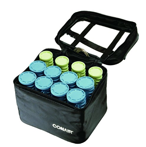 Conair Instant Heat Compact Hot Rollers W/ Ceramic Technology; Black Case With Blue And Green Rollers