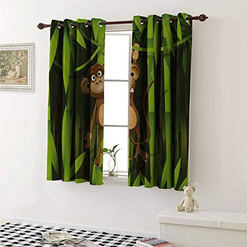 Jungle Blackout Draperies for Bedroom Wildlife Theme with Illustration of a Cute Monkey in The Jungle Print Curtains Kitchen Valance W72 x L63 Inch Brown and Fern Green]()
