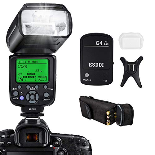 Camera Flash for Nikon, DSLR Camera, I-TTL 1/8000 HSS GN58, Multi, ESDDI Wireless Camera Flash Set Include 2.4G Wireless Flash Trigger, Cold Shoe Base Bracket and Accessories