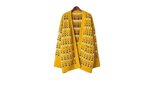 Zhrui Abrigo de Invierno de Las Chaquetas de Las Mujeres Elegante de Largo Jersey Amarillo (Color : Amarillo, tamaño : Un tamaño): Amazon.es: Ropa y ...