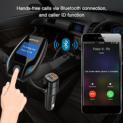 Bluetooth FM Transmitter for Car with Quick Charge 3.0 Wireless In-Car Radio Transmitter Adapter Support AUX Input/TF Card/USB Flash Drive/Hands-Free Calling by MYPIN (Image #5)