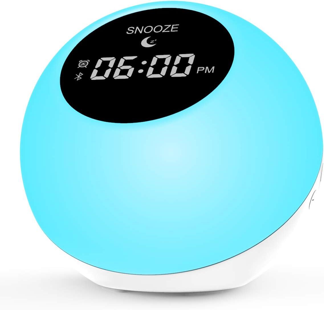 Reloj Despertador,Digital Alarma Despertador, Despertador con Altavoz Bluetooth Inalámbrico,Reloj Alarma con Luces para Personas con sueño Pesado-con 7 Colores cambiantes de luz Nocturna (White)
