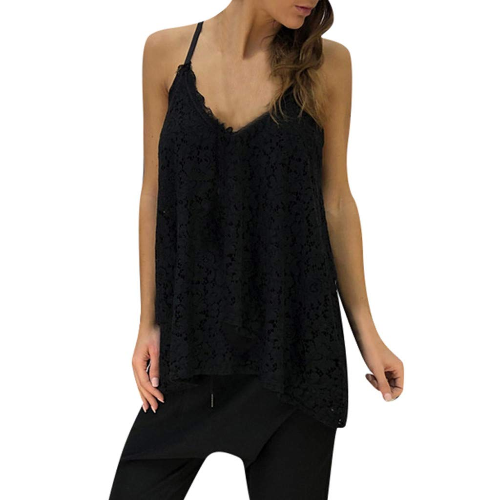 Tank Tops for Women Lace V Neck Casual Sleeveless Crop Vest Loose Solid Camisole (XXXL, Black)