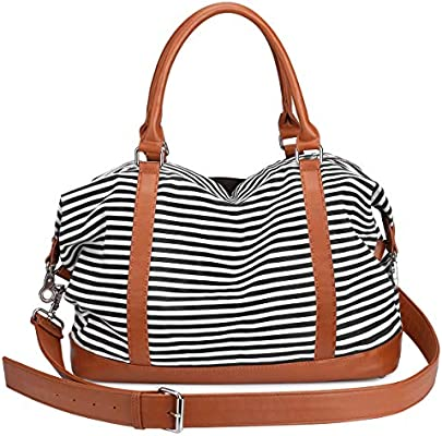 68bfd9b8f37 S-ZONE Women Ladies Canvas Weekender Bag Overnight Carry-on Duffel Tote Bag  With PU Leather Strap (Black)
