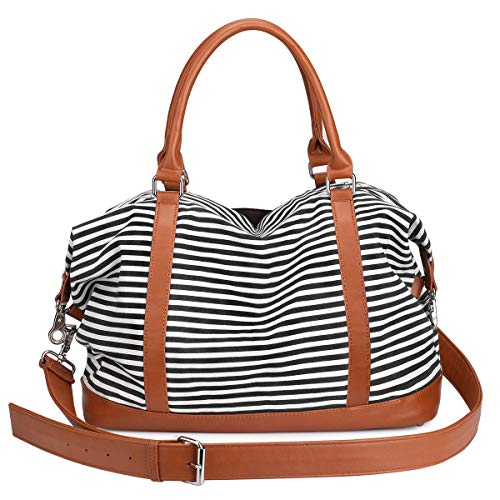 - S-ZONE Women Ladies Canvas Overnight Travel Weekender Bag Carry-on Shoulder Tote Duffel Bag with PU Leather Strap (Black)