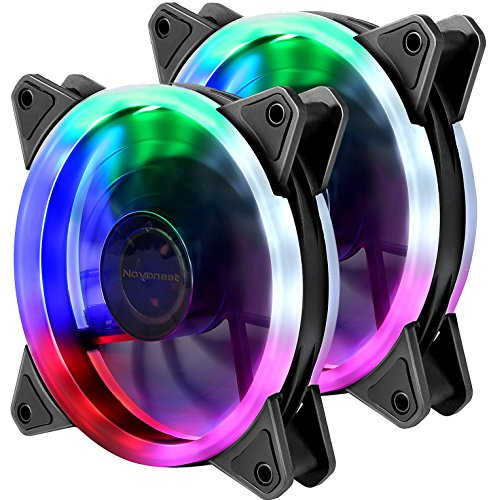 upHere Computer Case Fan 120mm LED Silent Fan for Computer Cases, CPU Coolers, and Radiators Ultra Quiet ,Twin Pack Colorful Case Fan