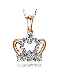 Amazing Crown Fine Nautural Diamond 14K Rose Gold Anniversary Wedding Pendant Set