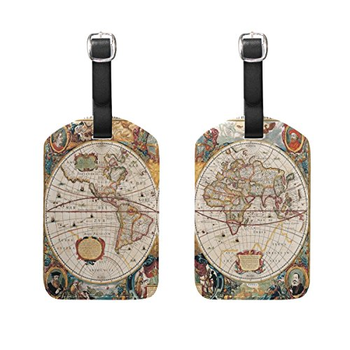 ALAZA Vintage World Map Luggage Tags American Flag Suitcase Baggage Labels 2pcs (Traveler World Tag Luggage)