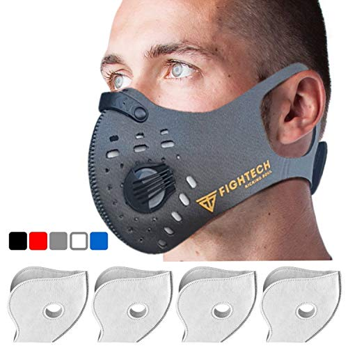 Dust Mask by Fightech | Mouth Mask Respirator with 4 Carbon N99 Filters for Pollution Pollen Allergy Woodworking Mowing Running | Washable and Reusable Neoprene Half Face Mask (Large/X-Large, Gray)