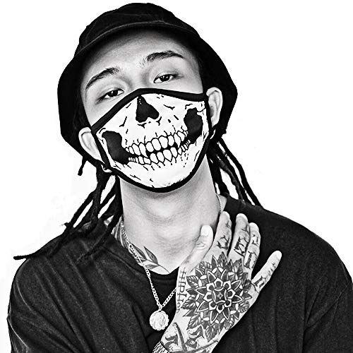 Skull Mask Half Face Mouth-Muffle Silk 2 Layer Fashion Motorcycle Anti Dust ()