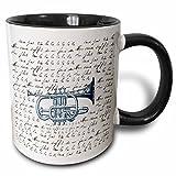 3dRose mug_123362_4 Vintage Music Trumpet with song Two Tone Black Mug, 11 oz, Black/White
