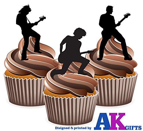 AKGifts Rock Star / Rock Guitarist Silhouette - Edible Stand-up Cupcake Toppers (pack of 12) (7 - 10 BUSINESS DAYS DELIVERY FROM UK)
