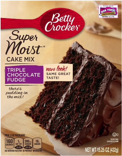 Betty Crocker Baking Mix, Super Moist Cake Mix, Triple Chocolate Fudge, 15.25 Oz Box (Pack of 6)