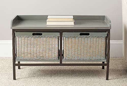Safavieh American Homes Collection Noah Storage Bench, Antique Pewter and French Grey