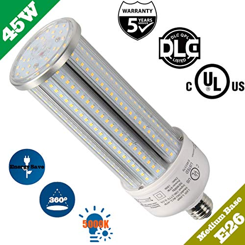LED Corn Bulb 45 Watt Medium Base Replace 400W Incandescent Bulb 5,000K Daylight Retrofit for Indoor/Outdoor Gym Workshop Garage Warehouse Canopy High Bay Street Fixture Lighting UL DLC Listed