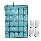 Classroom Pocket Chart, Hanging Organizer for Cell Phone School Calculator Holder with 4 Wall Hooks for Kitchen Bathroom Office