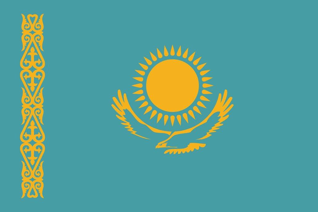 太田旗店 カザフスタン 国旗 地球にやさしい外国旗 (140×210cm) B07BSPXHB8 140×210cm
