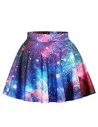 Imbry Girls Pleated Allover Galaxy Printed Skirt A-Line Skater Mini Skirt