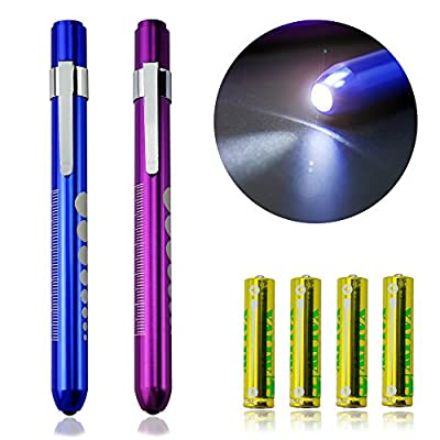 Zitrades Nurse Penlight Medical Reusable LED Pen light with Pupil Gauge White 2PCS