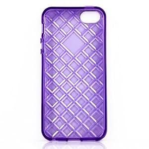 Fulldream Colorful TPU Rubber Skin Transparent Rhombus pattern Case Cover for iPhone 5 5S Purple