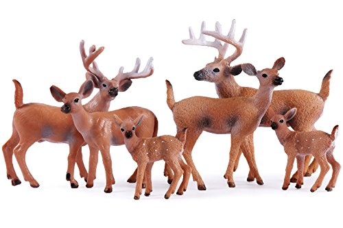 Miniature Figurine (Miniature Deer Family Toy Figurines - Set of 6 Figures, White-Tailed 2 Bucks, 2 Does and 2 Fawns)