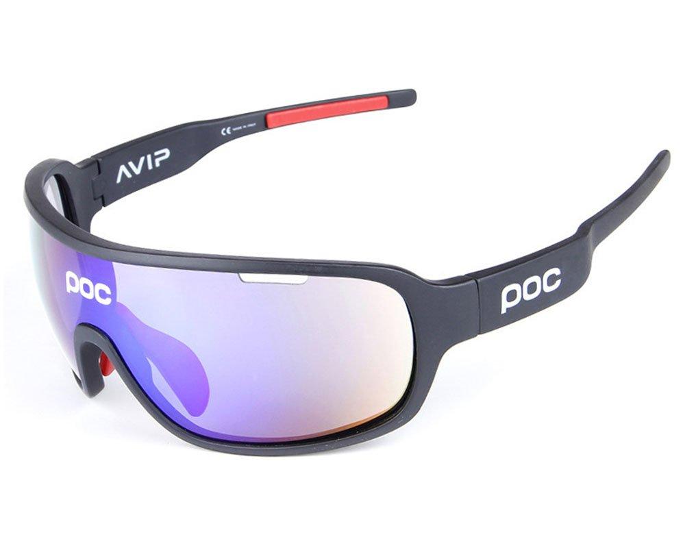 Gafas Polarizadas Deporte Bici Anti UV400 Gafas para Correr Running Antivaho con 5 Lentes Intercambiables Adaptadas Tambié n A Ciclismo Bicicleta De Montañ a MTB, B Aili