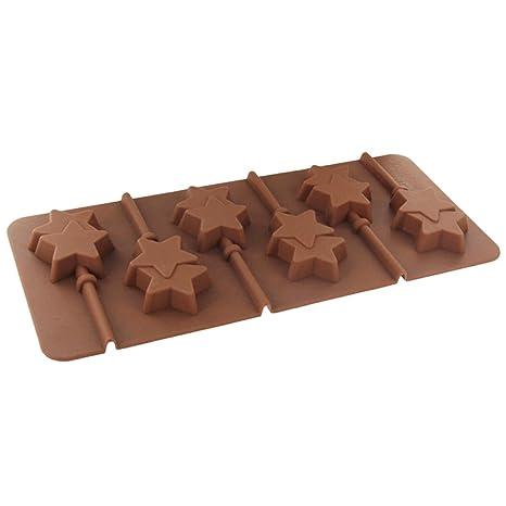 joyliveCY Lollipop Compatible Conma de Estrella Fondant molde de silicona para bombones, pastel, gelatina