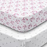 Playard Sheets, 2 Pack Fitted Soft Jersey Cotton Playpen Sheet, Bedding with Pink Owls and Grey Hearts Design, Fits Standard Pack n Play Mattress for Babies and Toddlers