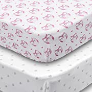 Playard Sheets, 2 Pack Owls & Hearts Fitted Soft Jersey Cotton Playpen Bedding