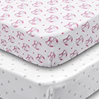 Playard Sheets, 2 Pack Fitted Soft Jersey Cotton Playpen Sheet, Bedding with ...
