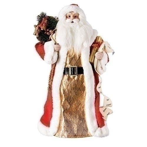 ROMAN 18'' SANTA W/LIST & GIFTS TREE TOP RED COAT GOLD DRESS