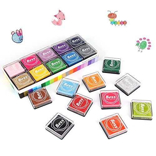 Ink Stamp Pads, AODOOR Finger Ink Pads for Kids 20 Colors, Washable Craft Stamp Pad DIY Color for Rubber Stamps, Paper, Scrapbooking, Wood Fabric, Best DIY Gift for Kids (20 Colors)