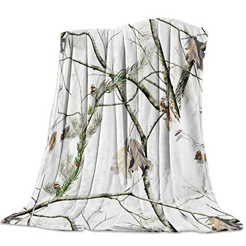 Heart Pain White Realtree Camo Luxury Flannel Throw Blanket Autumn Season Reversible Fuzzy All Season Blanket for Child and Adults 50x60 inches