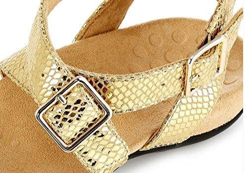 Vionic - Sandalias de vestir de piel y textil para mujer dorado