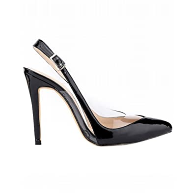 897fcbde88e Optimal Women Transparent Sides Pointed Toe Thin High Heel Pumps Clear  Shallow Mouth Wedding Shoes