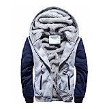 iTLOTL Contemporary & Designer Mens M-5XL Hoodie Winter Warm Fleece Zipper Jacket Outwear Coat(Gray,M)