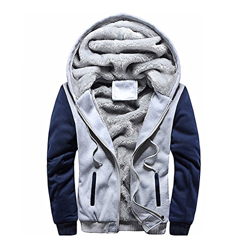 Hoodie Zip Fur Sweater Outwear Jumper Hooded HARRYSTORE Gray Zipper Lined Parka Men's Hoody Sweatshirt Coat Fleece Outdoor Coat Jacket Top Jacket YAt1Fw