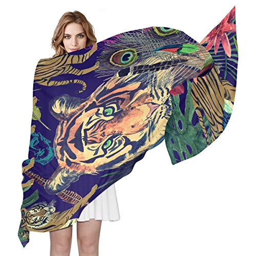 MAHU Silk Scarf Boho Indian Tiger Animal Floral Fashion Lightweight Sheer Shawl Wrap Long Muffler for Women
