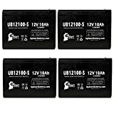 4-Pack UB12100-S Universal Sealed Lead Acid Battery (12V, 10Ah, F2 Terminal, AGM, SLA) Replacement - Compatible With Schwinn S500, S350, Missile FS, S180, S750, S600, Razor Rebellion Chopper