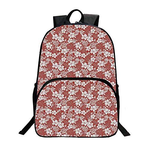 Luau Fashionable Backpack,Hawaiian Hibiscus Florets Bouquet Summer Petals Exotic Beauty Wildflowers Artsy Print Decorative for Boys,11.8