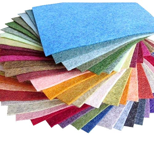 "38 Piece Merino Wool Blend Felt - Heathered Colors - Made in USA - OTR Felt (6""X12"")"