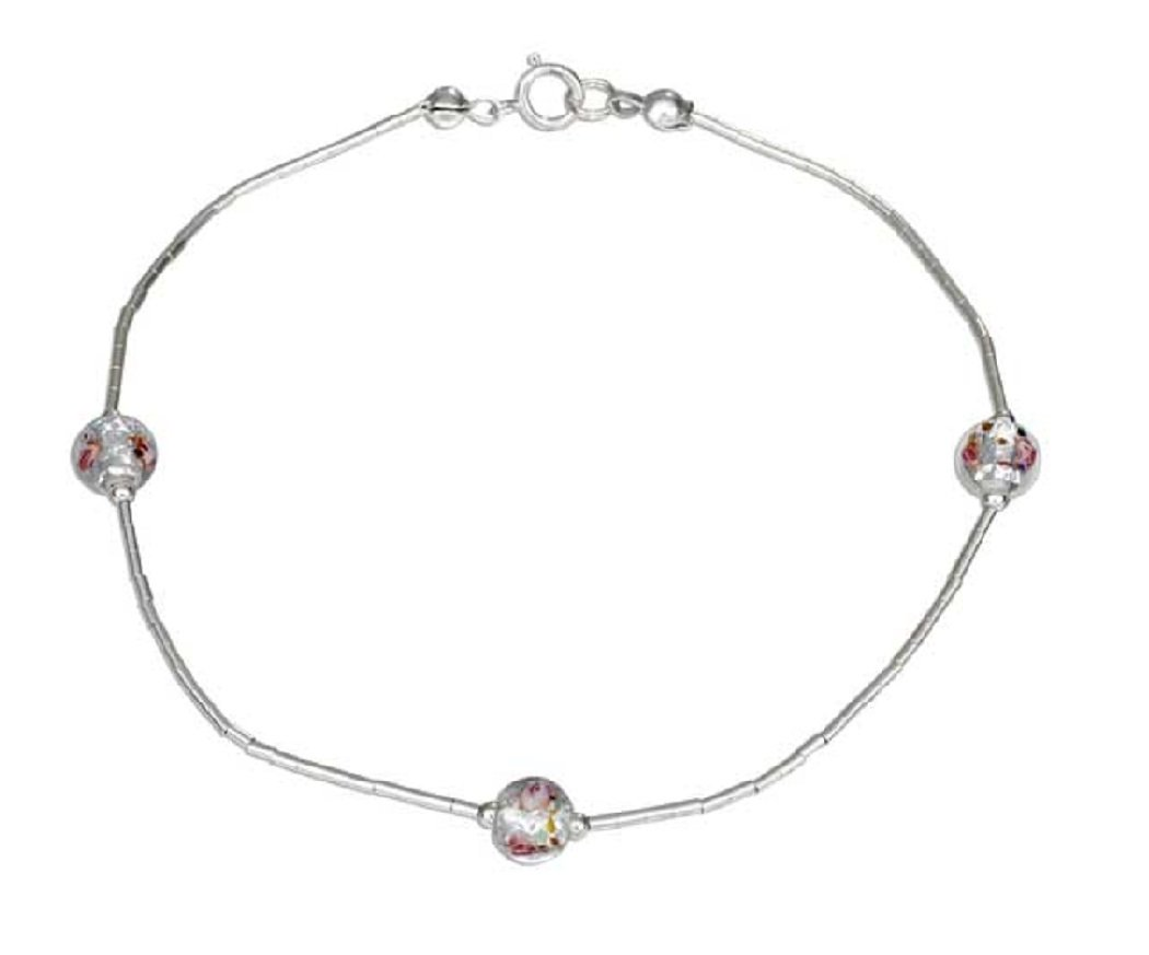 Sterling Silver 9'' Glass Flower Ankle Bracelet