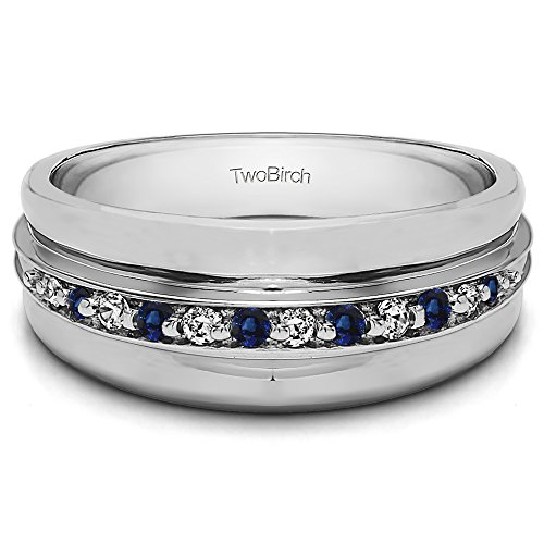 Silver Gents Wedding Band Diamonds(G-H,I2-I3) and Sapphire(0.2Ct) Size 3 To 15 in 1/4 Size Intervals