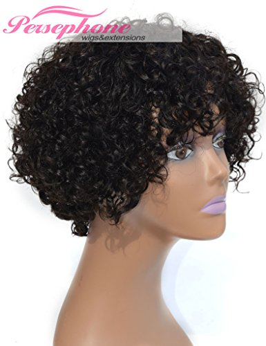 Persephone Brazilian Short Curly Remy Human Hair Wigs For Black Women None Lace Full Machine Made Natural Looking Best Virgin Human Hair Wig Natural Color 130% Density