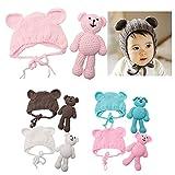 ECYC Newborn Baby Bear Hat Beanie With Bear Dolls Photography accessories