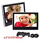 2 x 11.6 inch Digital Monitors Super-thin Car Headrests Rear-seat DVD Players IR/FM Transmitter 32 Bit Game with Game Discs Gamepads support USB SD HDMI Port with Dual Cigarette Lighter Adapters