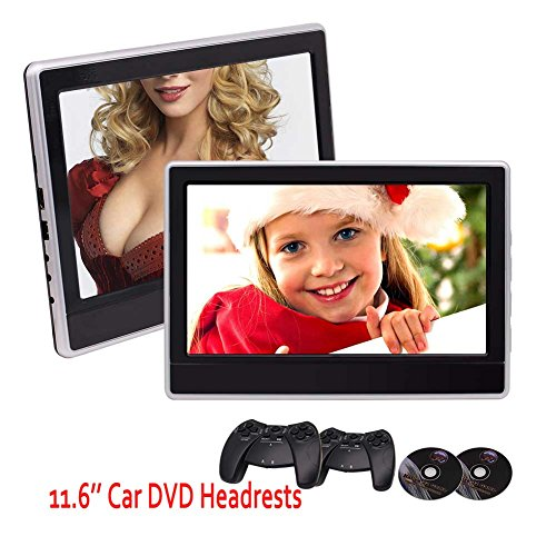 - 2 x 11.6 inch Digital Monitors Super-Thin Car Headrests Rear-seat DVD Players IR/FM Transmitter 32 Bit Game with Game Discs Gamepads Support USB SD HDMI Port with Dual Cigarette Lighter Adapters