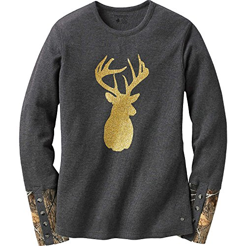 Legendary Whitetails Ladies Huntress Crew Neck Thermal Charcoal Heather Small