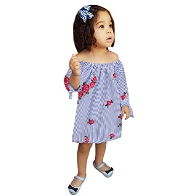 6ce3a53f3456 Amazon.com  KONFA Toddler Baby Girls Embroider Flowers Striped Dress ...