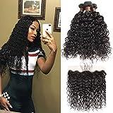 Brazilian Water Wave Bundles with Closure 100% Virgin Human hair Bundles With Closure Unprocessed Hair Extensions Natural Color (20 20 20+18, 3Bundles/Frontal)